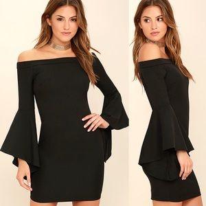 Lulus Black Off-the-Shoulder Mini Dress